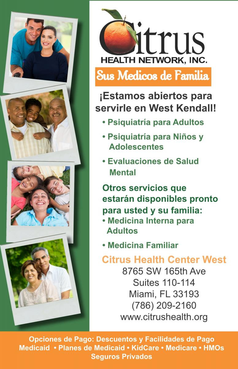 Spanish Informational Flyer for Citrus Health Center West- Call 786-209-2160 for more information